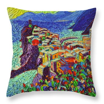 Vernazza Cinque Terre Italy 2 Modern Impressionist Palette Knife Oil Painting By Ana Maria Edulescu  Throw Pillow