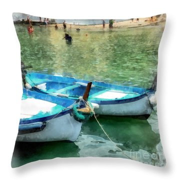 Vernazza Harbor Cinque Terre Italy Throw Pillow by Edward Fielding