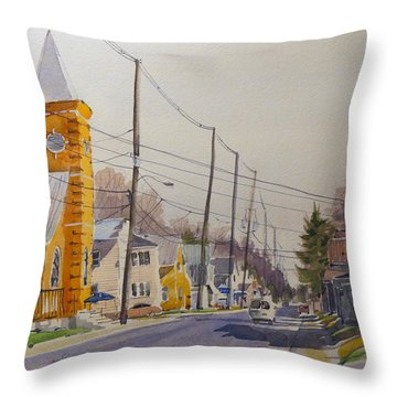 Verona Village Looking North Throw Pillow by David Gilmore