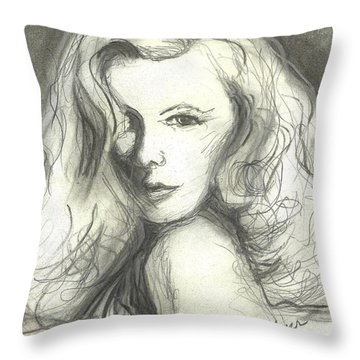 Throw Pillow featuring the mixed media Veronica Lake by Denise Fulmer