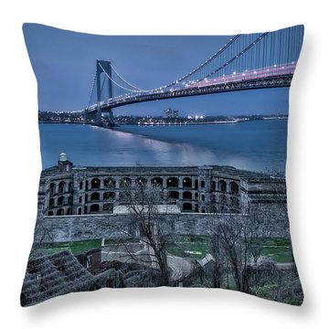 Throw Pillow featuring the photograph Verrazano Narrows Bridge Full Moon by Susan Candelario