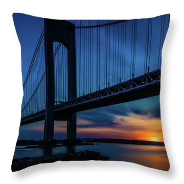 Throw Pillow featuring the photograph Verrazano Sunset by Chris Lord