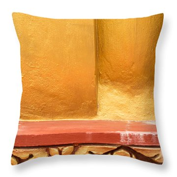 Vertical Abstract View Of Golden Section Of Buddhist Pagoda With Gold Floral Trim Below Throw Pillow