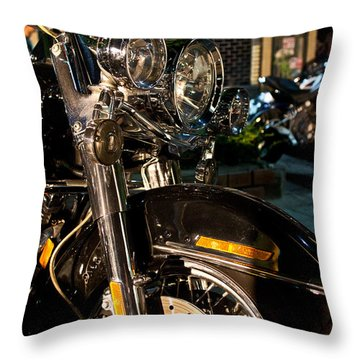Throw Pillow featuring the photograph Vertical Front View Of Fat Cruiser Motorcycle With Chrome Fork A by Jason Rosette
