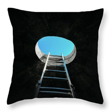 Vertical Step-ladder On Ceiling Window  Throw Pillow