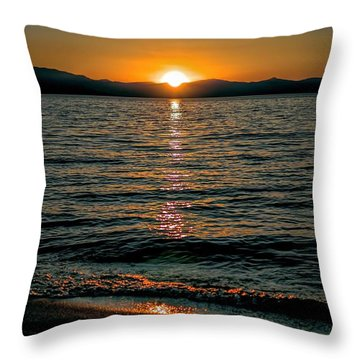 Vertical Sunset Lake Throw Pillow