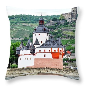 Vertical Vineyards And Buildings On The Rhine Throw Pillow