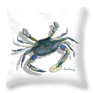 Very Blue Crab Throw Pillow