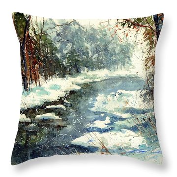 Very Cold Winter Watercolor Throw Pillow