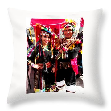 Very Proud Bolivian Dancers Throw Pillow