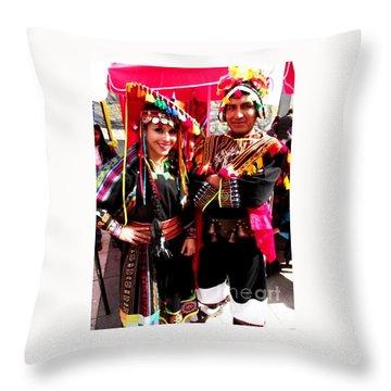 Very Proud Bolivian Dancers Throw Pillow