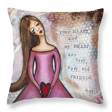 Throw Pillow featuring the mixed media Very Very Old Friend by Stanka Vukelic