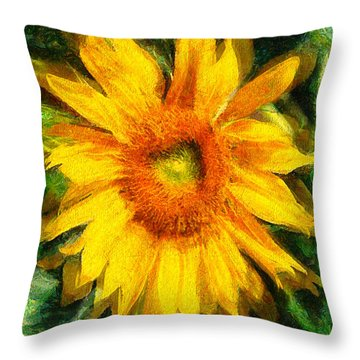Very Wild Sunflower Throw Pillow