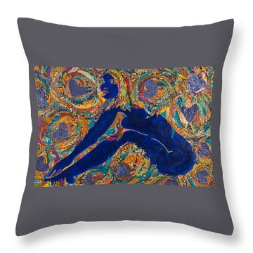 Throw Pillow featuring the tapestry - textile Vesica  Pisces by Apanaki Temitayo M
