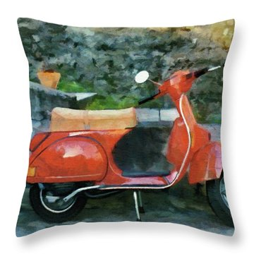Vespa Parked Throw Pillow by Jeff Kolker