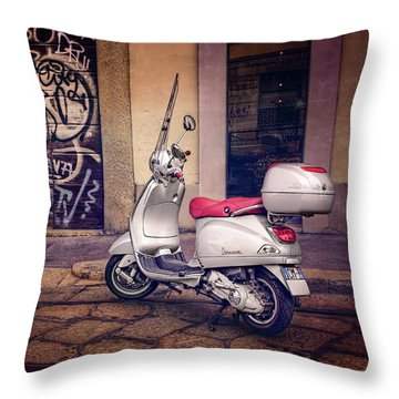 Throw Pillow featuring the photograph Vespa Scooter In Milan Italy  by Carol Japp