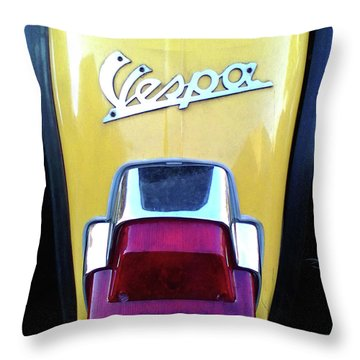 Throw Pillow featuring the photograph Vespa Style by Rebecca Harman
