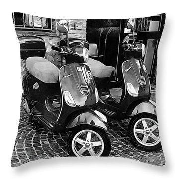 Vespa Twins Black And White Throw Pillow