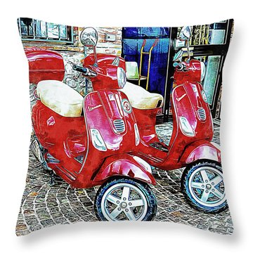 Vespa Twins Red Throw Pillow