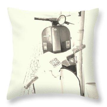 Vespa Vs Vespa In Sepia Throw Pillow