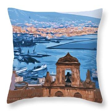 Vesuvio, Panorama From Naples Throw Pillow