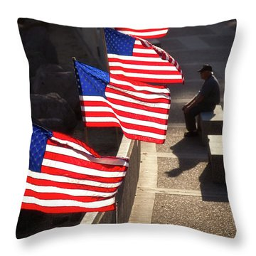 Veteran With Our Nations Flags Throw Pillow