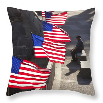 Veteran With United States Flags Throw Pillow by John A Rodriguez