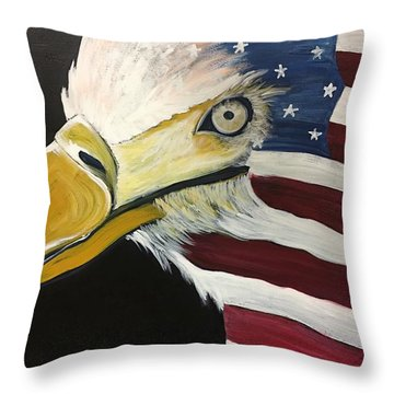 Throw Pillow featuring the painting Veteran's Day Eagle by Laurie Maves ART