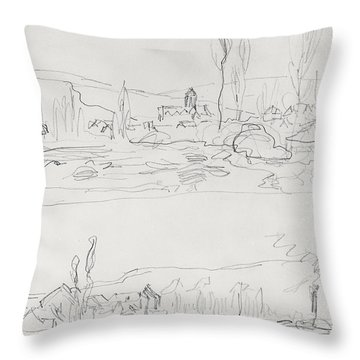 Vetheuil From L'ile St Martin And Tugboat On The Seine Before Lavacourt, Before 1886 Throw Pillow