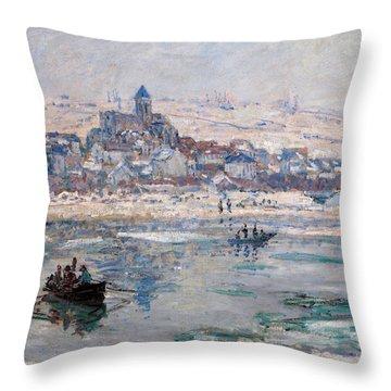 Vetheuil In Winter Throw Pillow