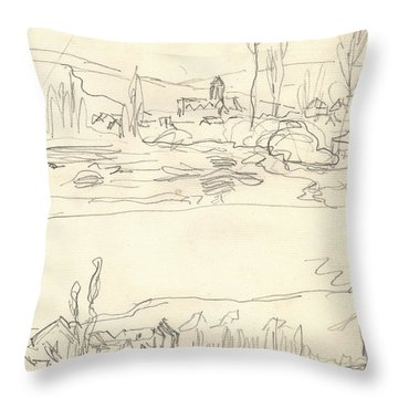 Vetheuil Seen From The Ile Saint Martin, Tugboat On River Seine Facing Lavacourt Throw Pillow