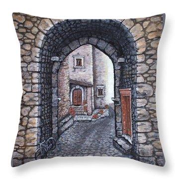Via In Santo Stefano Throw Pillow