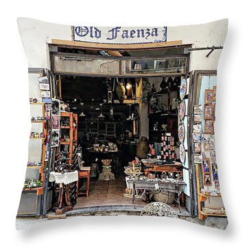 Throw Pillow featuring the digital art Via Pietro Capuano Shopping - Amalfi, Italy by Joseph Hendrix
