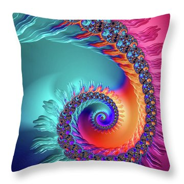 Vibrant And Colorful Fractal Spiral  Throw Pillow