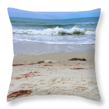 Vibrant Beach With Wave Throw Pillow