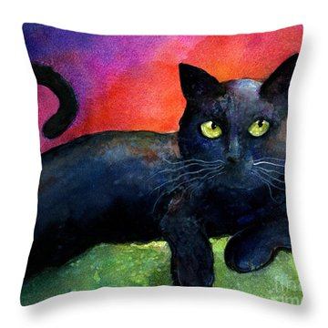 Vibrant Black Cat Watercolor Painting  Throw Pillow