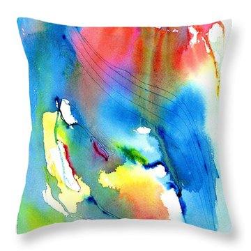 Vibrant Colorful Abstract Watercolor Painting Throw Pillow by Carlin Blahnik