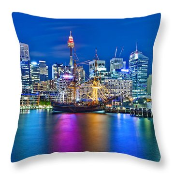 Vibrant Darling Harbour Throw Pillow by Az Jackson
