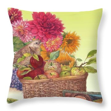 Vibrant Fall Florals And Harvest Throw Pillow