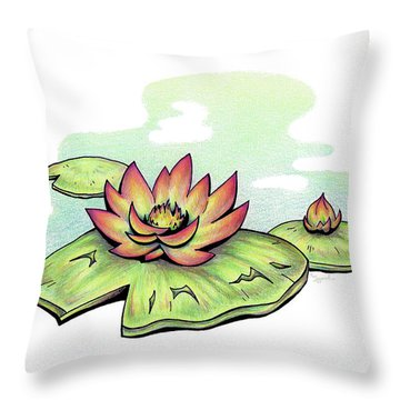 Vibrant Flower 2 Water Lily Throw Pillow