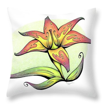 Vibrant Flower 4 Tiger Lily Throw Pillow