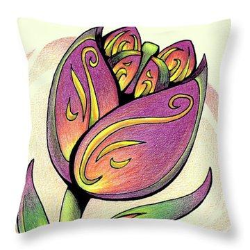 Vibrant Flower 5 Tulip Throw Pillow