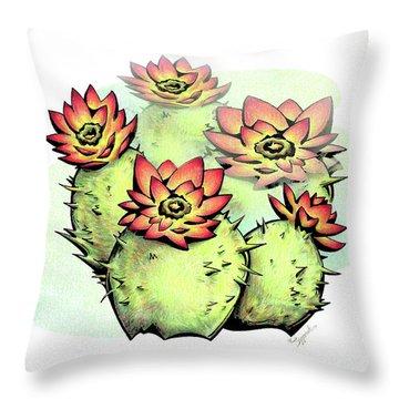 Vibrant Flower 6 Cactus Throw Pillow