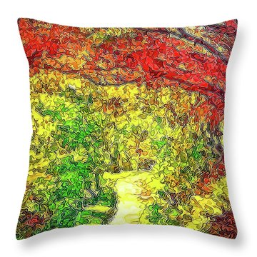 Throw Pillow featuring the digital art Vibrant Garden Pathway - Santa Monica Mountains Trail by Joel Bruce Wallach
