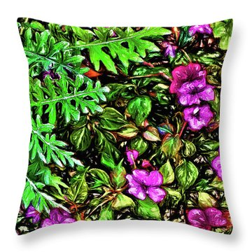 Throw Pillow featuring the digital art Vibrant Garden by Terry Cork