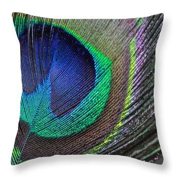 Vibrant Green Feather Throw Pillow