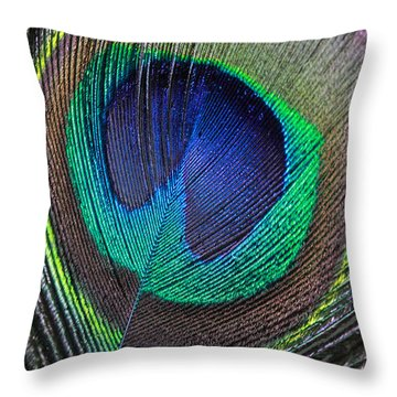 Vibrant Green Feather Throw Pillow