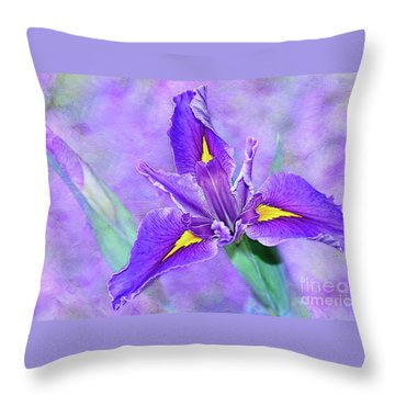 Throw Pillow featuring the photograph Vibrant Iris On Purple Bokeh By Kaye Menner by Kaye Menner