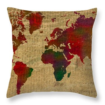 Vibrant Map Of The World In Watercolor On Old Sheet Music And Newsprint Throw Pillow