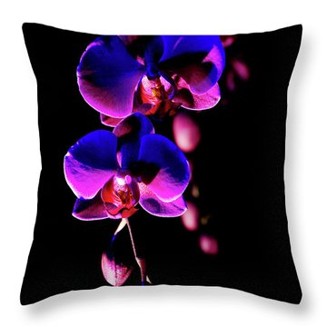 Throw Pillow featuring the photograph Vibrant Orchids by Ann Bridges